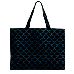 Scales1 Black Marble & Teal Leather (r) Zipper Mini Tote Bag