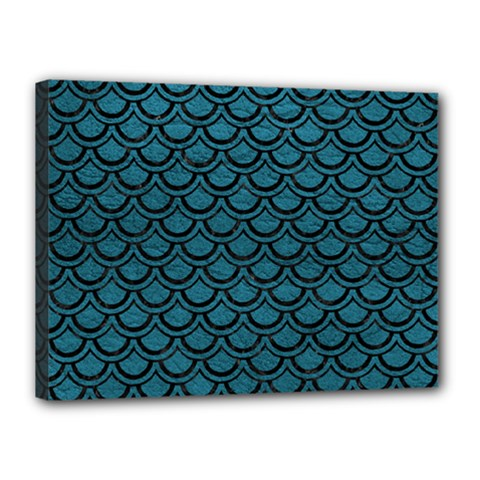 Scales2 Black Marble & Teal Leather Canvas 16  X 12