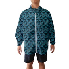 Scales2 Black Marble & Teal Leather Wind Breaker (kids)