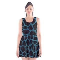 Skin1 Black Marble & Teal Leather Scoop Neck Skater Dress