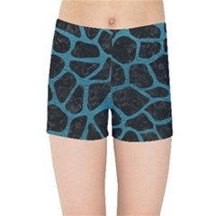 Skin1 Black Marble & Teal Leather Kids Sports Shorts