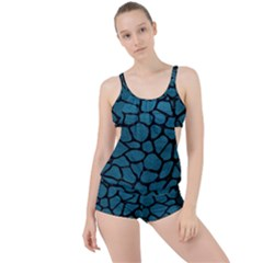 Skin1 Black Marble & Teal Leather (r) Boyleg Tankini Set