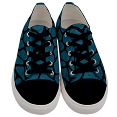 Skin1 Black Marble & Teal Leather (r) Men s Low Top Canvas Sneakers