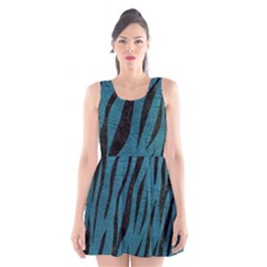 Skin3 Black Marble & Teal Leather Scoop Neck Skater Dress
