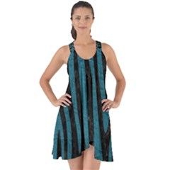 Skin4 Black Marble & Teal Leather Show Some Back Chiffon Dress