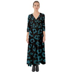 Skin5 Black Marble & Teal Leather Button Up Boho Maxi Dress