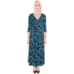 Skin5 Black Marble & Teal Leather (r) Quarter Sleeve Wrap Maxi Dress
