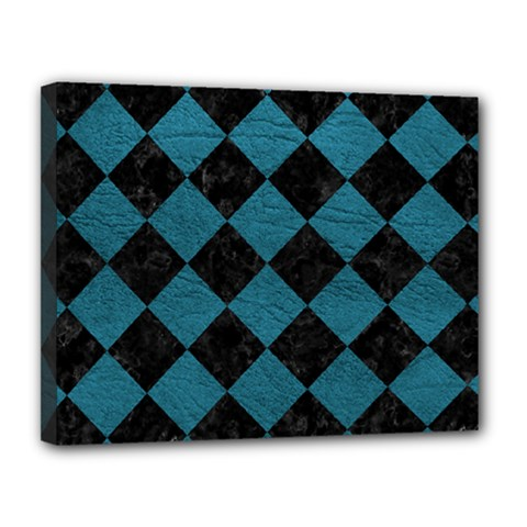 Square2 Black Marble & Teal Leather Canvas 14  X 11