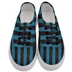 Stripes1 Black Marble & Teal Leather Women s Classic Low Top Sneakers