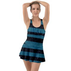 Stripes2 Black Marble & Teal Leather Swimsuit