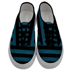 Stripes2 Black Marble & Teal Leather Men s Classic Low Top Sneakers