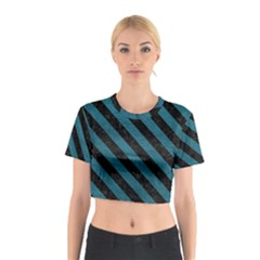 Stripes3 Black Marble & Teal Leather Cotton Crop Top