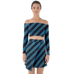 Stripes3 Black Marble & Teal Leather (r) Off Shoulder Top With Skirt Set