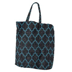 Tile1 Black Marble & Teal Leather (r) Giant Grocery Zipper Tote