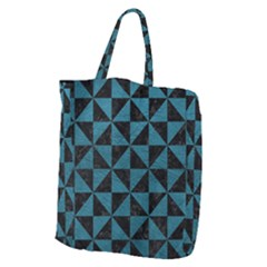 Triangle1 Black Marble & Teal Leather Giant Grocery Zipper Tote