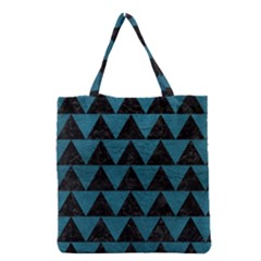 Triangle2 Black Marble & Teal Leather Grocery Tote Bag