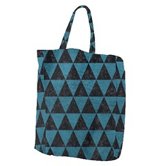 Triangle3 Black Marble & Teal Leather Giant Grocery Zipper Tote