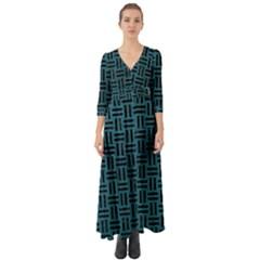 Woven1 Black Marble & Teal Leather Button Up Boho Maxi Dress