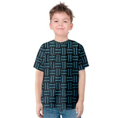 Woven1 Black Marble & Teal Leather (r) Kids  Cotton Tee