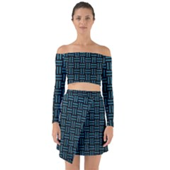 Woven1 Black Marble & Teal Leather (r) Off Shoulder Top With Skirt Set