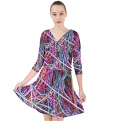 Funny Colorful Yarn Pattern Quarter Sleeve Front Wrap Dress