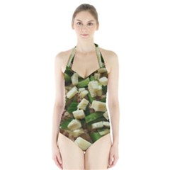 Cheese And Peppers Green Yellow Funny Design Halter Swimsuit