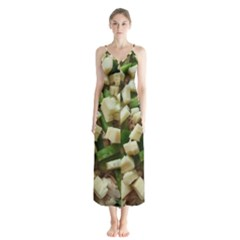 Cheese And Peppers Green Yellow Funny Design Button Up Chiffon Maxi Dress