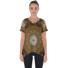 Elegant Festive Golden Brown Kaleidoscope Flower Design Cut Out Side Drop Tee