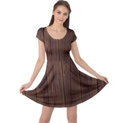 Rustic Dark Brown Wood Wooden Fence Background Elegant Natural Country Style Cap Sleeve Dress