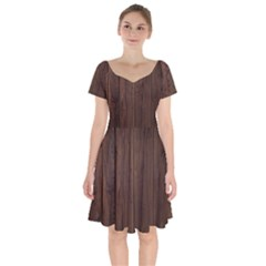 Rustic Dark Brown Wood Wooden Fence Background Elegant Natural Country Style Short Sleeve Bardot Dress