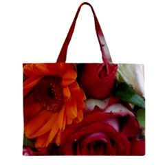 Floral Photography Orange Red Rose Daisy Elegant Flowers Bouquet Zipper Mini Tote Bag