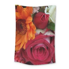 Floral Photography Orange Red Rose Daisy Elegant Flowers Bouquet Small Tapestry