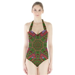 Feathers And Gold In The Sea Breeze For Peace Halter Swimsuit