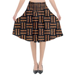 Woven1 Black Marble & Teal Leather (r) Flared Midi Skirt