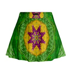 Feathers In The Sunshine Mandala Mini Flare Skirt