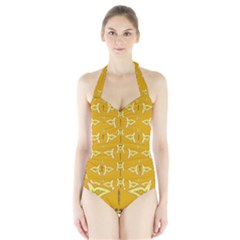 Fishes Talking About Love And   Yellow Stuff Halter Swimsuit
