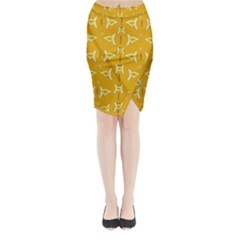 Fishes Talking About Love And   Yellow Stuff Midi Wrap Pencil Skirt