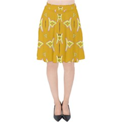 Fishes Talking About Love And   Yellow Stuff Velvet High Waist Skirt