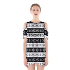 Snowflakes   Christmas Pattern Shoulder Cutout One Piece