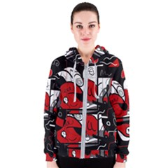 Red Black And White Abstraction Women s Zipper Hoodie