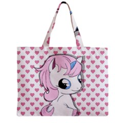 Baby Unicorn Zipper Medium Tote Bag