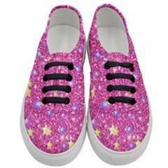 Stars On Sparkling Glitter Print,pink Women s Classic Low Top Sneakers
