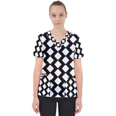 Abstract Tile Pattern Black White Triangle Plaid Scrub Top