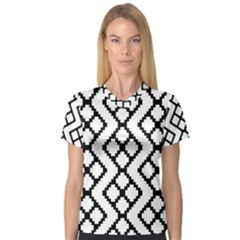 Abstract Tile Pattern Black White Triangle Plaid Chevron V Neck Sport Mesh Tee