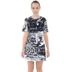 Graffiti Sixties Short Sleeve Mini Dress
