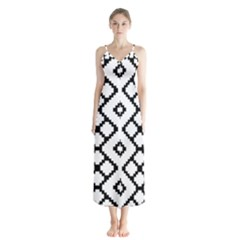 Abstract Tile Pattern Black White Triangle Plaid Chevron Button Up Chiffon Maxi Dress