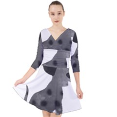 Dalmatian Inspired Silhouette Quarter Sleeve Front Wrap Dress