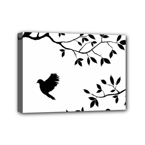 Bird Tree Black Mini Canvas 7  X 5