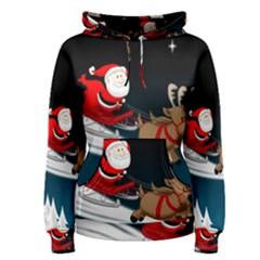 Christmas Reindeer Santa Claus Snow Star Blue Sky Women s Pullover Hoodie