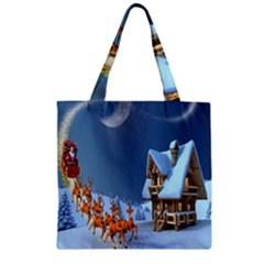 Christmas Reindeer Santa Claus Wooden Snow Zipper Grocery Tote Bag